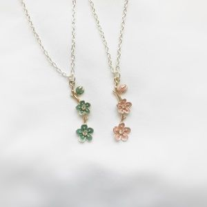 Jewelry - Green & Pink Flower Branch Necklace 16 inch